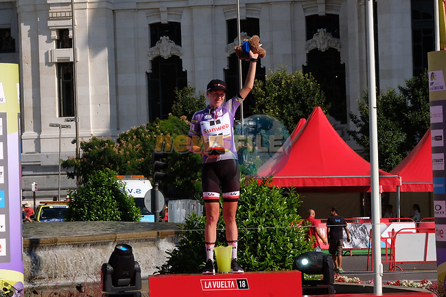 Ellen van Dijk (NED) Team Sunweb wins the overall general classification at the end of Stage 2 of the Madrid Challenge by La Vuelta 2018, running 98.6km around the streets of Madrid, Spain. 16th September 2018.                   <br /> Picture: Unipublic/Vicent Bosch | Cyclefile<br /> <br /> <br /> All photos usage must carry mandatory copyright credit (&copy; Cyclefile | Unipublic/Vicent Bosch)