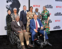 "LOS ANGELES, USA. June 04, 2019: Jacqueline Avant, Billye Aaron, Hank Aaron, Ted Sarandos, Nicole Avant & Clarence Avant at the premiere for ""The Black Godfather"" at Paramount Theatre.<br /> Picture: Paul Smith/Featureflash"