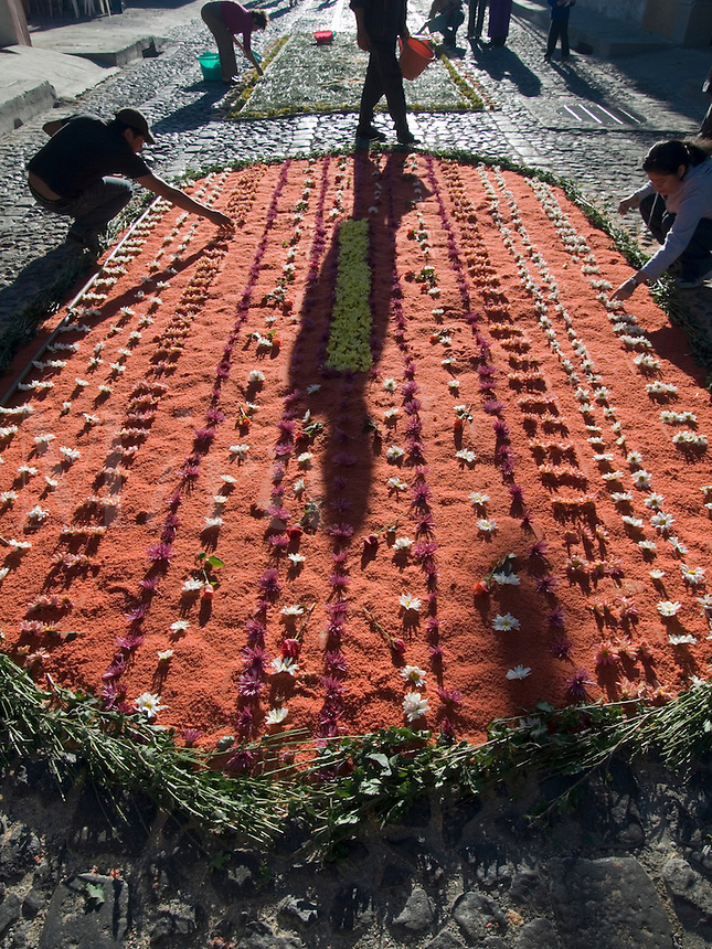 Antigua, Guatemala: During the observance of  Lent in Guatemala,the streets are covered with natural, aromatic carpets (alfombras)  of flowers,  pines, clover and fruits, which the residents put together and  place in front of their homes. .