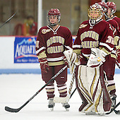Emily Pfalzer (BC - 14), Kiera Kingston (BC - 32) - The Boston College Eagles defeated the Harvard University Crimson 4-2 in the 2012 Beanpot consolation game on Tuesday, February 7, 2012, at Walter Brown Arena in Boston, Massachusetts.