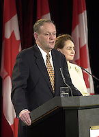 D&K :  Shawinigan, November 28, 2000<br /> It was past midnight when Liberal Party Leader  Jean Chretien who was  reelected as Canadian Prime Minster gave his victory speech in  his home town of Shawinigan (Quebec, CANADA).<br /> Photo : Pierre Roussel - Images Distribution