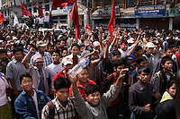 Maoists celebrates in the streets. The policeforces geared up for massive riots, but none erupted. April 10th 2008 the historic Consistuent assembly elections took place in Nepal, putting an end to a centuries of monarchy. The assembly will form a new constitution and abolish the monarchy and King Gyanendras rule. The big question remains if the new maoist led government will be a positive or a negative factor in a country that recently emerged from a decade of civilwar. Photo: Christopher Olssøn.