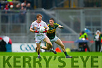 Jonathan Lyne, Kerry in Action Against Peter Harte, Tyrone in the All Ireland Semi Final at Croke Park on Sunday.