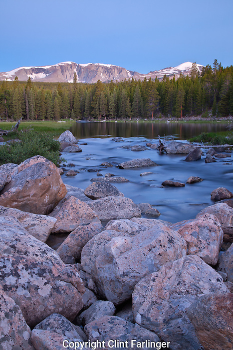 Bighorn and Darton Peaks above one of the South Fork Ponds, Cloud Peak Wilderness, Bighorn National Forest, Wyoming