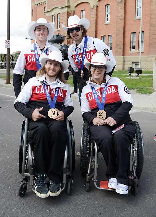 Calgary, AB - June 6 2014 - Para-Alpine Team members Mac Marcoux, Robin Femy, Caleb Brousseau and Kimberly Joines before the Celebration of Excellence Parade of Champions. (Photo: Matthew Murnaghan/Canadian Paralympic Committee)