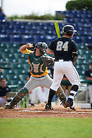 Siena Saints catcher Patrick Ortland (27) throws down to second base as David Yanni (24) bats during a game against the Pittsburgh Panthers on February 24, 2017 at Historic Dodgertown in Vero Beach, Florida.  Pittsburgh defeated Siena 8-2.  (Mike Janes/Four Seam Images)