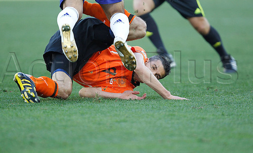 19 06 2010  Netherlands Robin van Persie Falls ON The Ground during their 2010 World Cup Group E Soccer Match Against Japan AT Moses Mabhida Stage in Durban South Africa ON June 19 2010