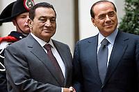 Roma, 9 Marzo 2006. Silvio Berlusconni incontra Mubarak