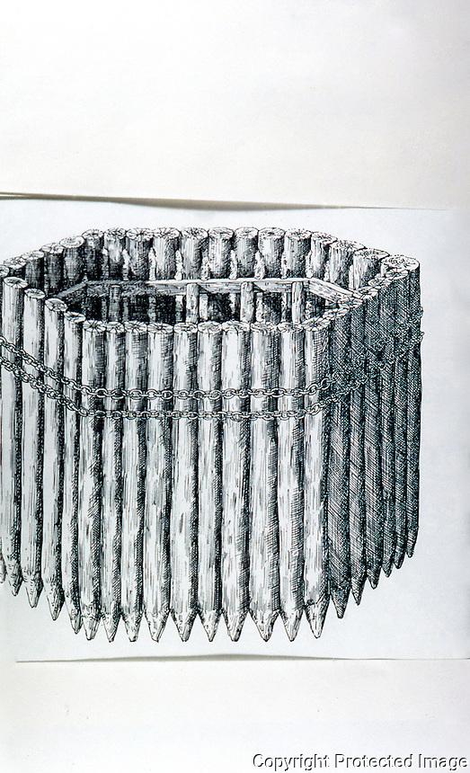 Roman Technology:  Cofferdam for bridge piers.  Drawing by D. Macauley.  Photo '84.