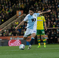 Blackburn Rovers' Lewis Travis scores his side's first goal   <br /> <br /> Photographer David Horton/CameraSport<br /> <br /> The EFL Sky Bet Championship - Norwich City v Blackburn Rovers - Saturday 27th April 2019 - Carrow Road - Norwich<br /> <br /> World Copyright © 2019 CameraSport. All rights reserved. 43 Linden Ave. Countesthorpe. Leicester. England. LE8 5PG - Tel: +44 (0) 116 277 4147 - admin@camerasport.com - www.camerasport.com