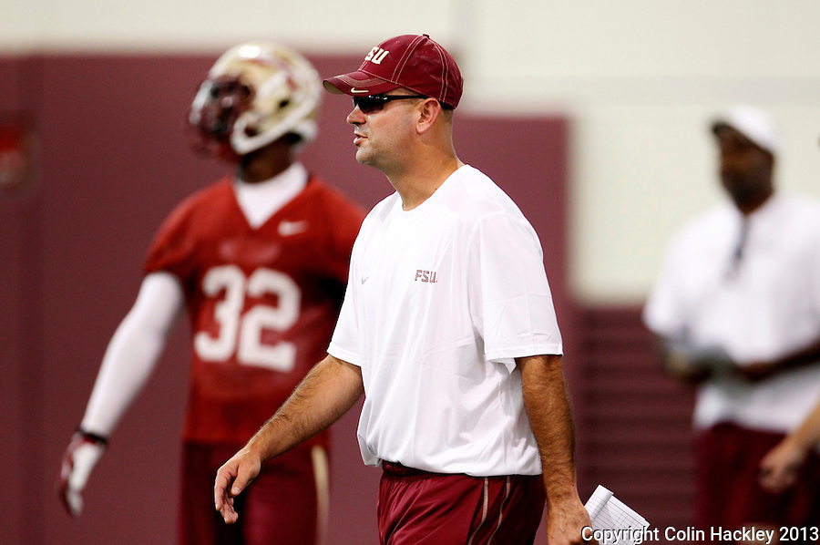 TALLAHASSEE, FLA.8/6/13-FSU080613CH-Florida State Defensive Coordinator Jeremy Pruitt during practice Aug. 6, 2013 in Tallahassee, Fla.<br /> <br /> COLIN HACKLEY PHOTO