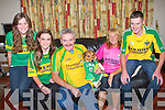 FAMILY: The Carlin family from Tiershanahan,Ballyheigue on Saturday night wore their county colours at their home. L-r: Aoife,Niamh (Kerry), Tony (Donegal), Sam,margaret and Niall (Kerry).