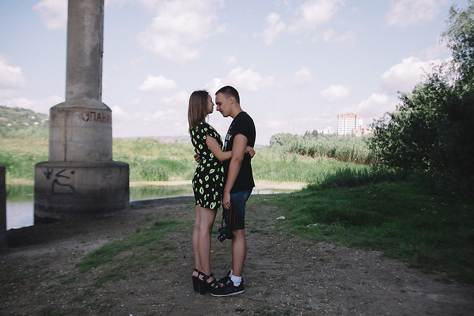 Katerine and Alexander during their walk on river bank. Ribnita, Transnistria