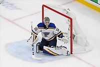 June 12, 2019: St. Louis Blues goaltender Jordan Binnington (50) guards the net during game 7 of the NHL Stanley Cup Finals between the St Louis Blues and the Boston Bruins held at TD Garden, in Boston, Mass.  The Saint Louis Blues defeat the Boston Bruins 4-1 in game 7 to win the 2019 Stanley Cup Championship.  Eric Canha/CSM.