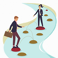 Businesswoman helping colleague choose path over stepping stones
