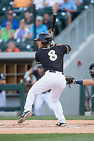 Tyler Saladino (8) of the Charlotte Knights at bat against the Columbus Clippers at BB&T BallPark on May 27, 2015 in Charlotte, North Carolina.  The Clippers defeated the Knights 9-3.  (Brian Westerholt/Four Seam Images)