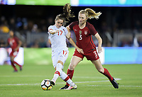 San Jose, CA - Sunday November 12, 2017: Jessie Fleming, Samantha Mewis during an International friendly match between the Women's National teams of the United States (USA) and Canada (CAN) at Avaya Stadium.
