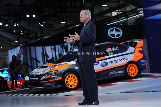 WWW.ACEPIXS.COM<br /> April 1, 2015 New York City<br /> <br /> 2015 WRX STI Rallycross  car at the New York International Auto Show at the Jacob K. Javits Convention Center on  April 1, 2015 in New York City.<br /> <br /> Please byline: Kristin Callahan/AcePictures<br /> <br /> ACEPIXS.COM<br /> <br /> Tel: (646) 769 0430<br /> e-mail: info@acepixs.com<br /> web: http://www.acepixs.com