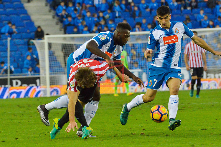 League Santander 2016/2017. Game: 11.<br /> RCD Espanyol vs Athletic Club: 0-0.<br /> Yeray Alvarez, Felipe Caicedo &amp; Gerard Moreno.