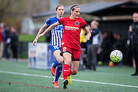 Allston, MA - Sunday, May 1, 2016:  Boston Breakers midfielder Louise Schillgard (10) and Portland Thorns FC defender Katherine Reynolds (2) in a match against the Portland Thorns FC at Jordan Field, Harvard University.