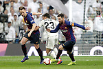 Real Madrid CF's Sergio Reguilon and FC Barcelona's Ivan Rakitic (L) and Leo Messi during La Liga match. March 02,2019. (ALTERPHOTOS/Alconada)