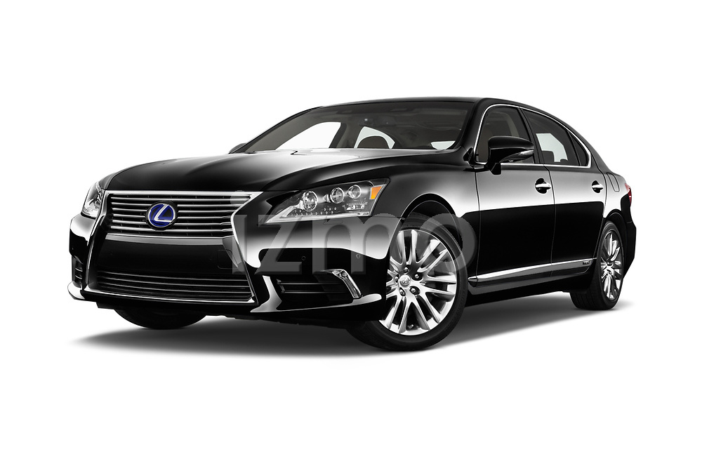Stock pictures of low aggressive front three quarter view of 2016 Lexus LS 600H-L-President-Line 4 Door Sedan Low Aggressive