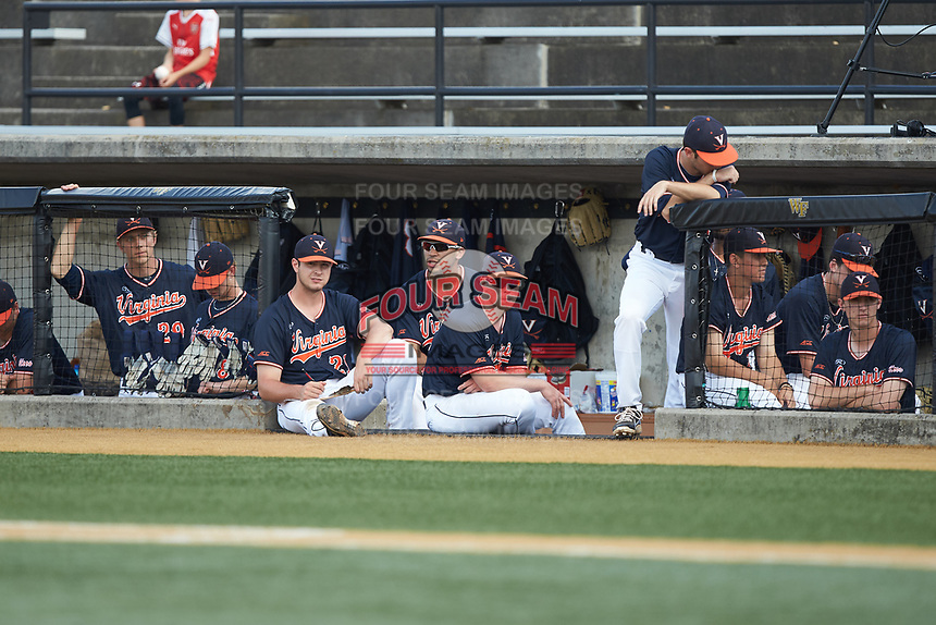 The Virginia Cavaliers bench watches the action during the game against the Wake Forest Demon Deacons at David F. Couch Ballpark on May 19, 2018 in  Winston-Salem, North Carolina. The Demon Deacons defeated the Cavaliers 18-12. (Brian Westerholt/Four Seam Images)