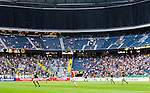 Solna 2014-07-12 Fotboll Allsvenskan AIK - Kalmar FF :  <br /> Vy &ouml;ver Friends Arena under matchen mellan AIK och Kalmars med publik , tomma l&auml;ktarsektioner och &ouml;vre etage av l&auml;ktaren t&auml;ckt med ett draperi<br /> (Foto: Kenta J&ouml;nsson) Nyckelord:  AIK Gnaget Friends Arena Kalmar KFF inomhus interi&ouml;r interior supporter fans publik supporters