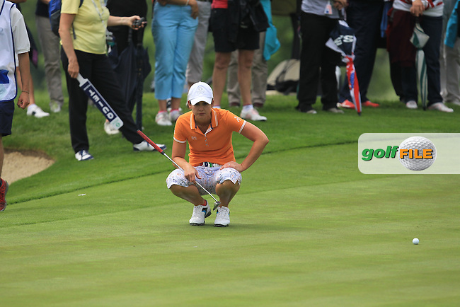 Maria Dunne on the 15th during the Saturday Mourning Fourbsomes of the 2016 Curtis Cup at Dun Laoghaire Golf Club on Saturday 11th June 2016.<br /> Picture:  Golffile | Thos Caffrey