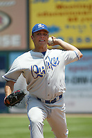Jake Woods of the Rancho Cucamonga Quakes throws in the bullpen before a game against the Inland Empire 66ers at Stater Bros Stadium on July 4, 2003 in San Bernardino, California. (Larry Goren/Four Seam Images)