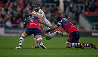Exeter Chiefs' Don Armand is tackled by Bristol Bears' Steven Luatua<br /> <br /> Photographer Bob Bradford/CameraSport<br /> <br /> Gallagher Premiership Round 7 - Bristol Bears v Exeter Chiefs - Sunday 18th November 2018 - Ashton Gate - Bristol<br /> <br /> World Copyright © 2018 CameraSport. All rights reserved. 43 Linden Ave. Countesthorpe. Leicester. England. LE8 5PG - Tel: +44 (0) 116 277 4147 - admin@camerasport.com - www.camerasport.com