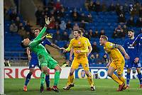 Tom Clarke of Preston North End scores his side's winning goal during the Sky Bet Championship match between Cardiff City and Preston North End at the Cardiff City Stadium, Cardiff, Wales on 29 December 2017. Photo by Mark  Hawkins / PRiME Media Images.
