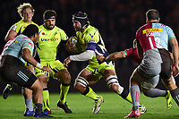 Andre Ostrikov of Sale Sharks takes on the Harlequins defence. Aviva Premiership match, between Harlequins and Sale Sharks on October 6, 2017 at the Twickenham Stoop in London, England. Photo by: Patrick Khachfe / JMP