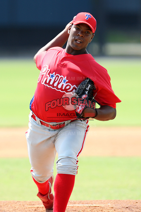Philadelphia Phillies minor league pitcher Perci Garner vs. the Detroit Tigers during an Instructional League game at Tiger Town in Lakeland, Florida;  October 12, 2010.  Photo By Mike Janes/Four Seam Images