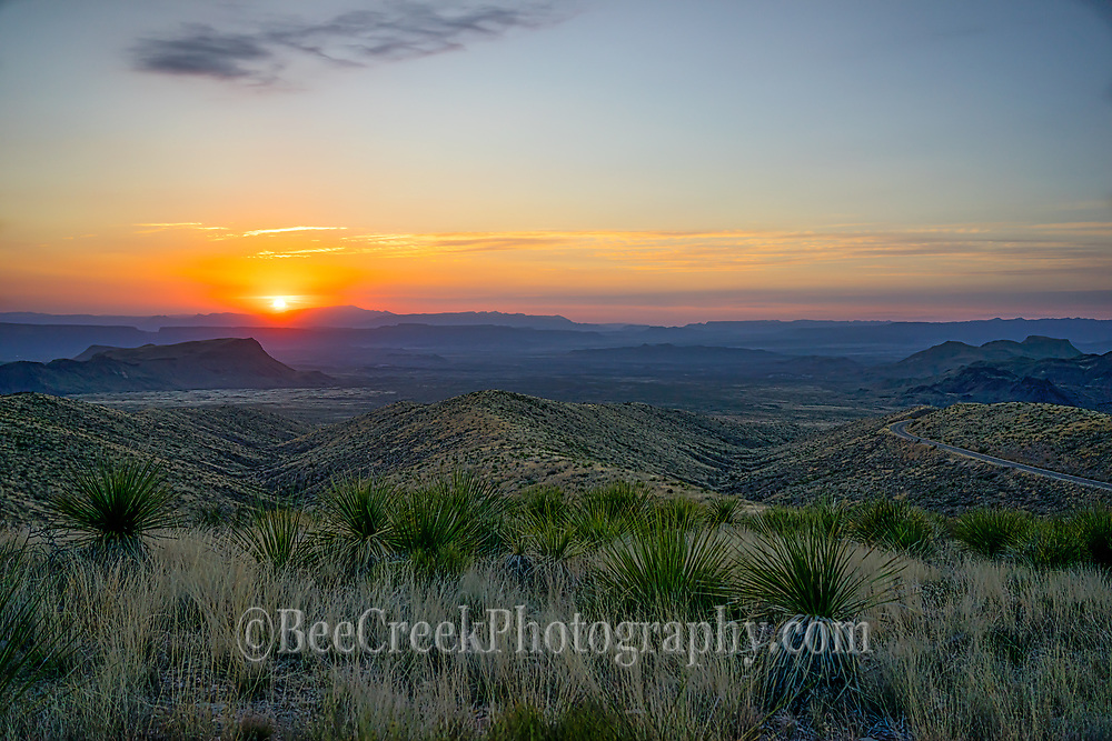 The soft light of another Texas Sunset in Big Bend National Park looking west toward the Santa Elena Canyons and beyond as light begins to fade.