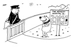 (Postman standing at front gate being confronted by savage dog standing next to sign post showing nearest hospital)