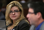 Nevada Assemblywoman Michele Fiore, R-Las Vegas, listens to Assemblyman Andrew Martin, D-Las Vegas, speak in committee at the Legislative Building in Carson City, Nev. on Wednesday, Feb. 6, 2013. .Photo by Cathleen Allison