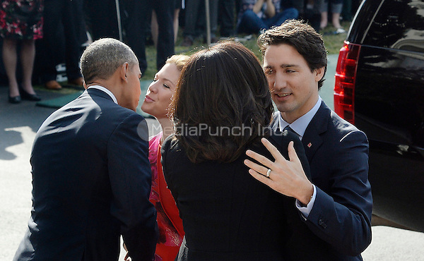 President Barack Obama and First Lady Michelle Obama welcome Prime Minister Justin Trudeau of Canada and Mrs. Sophie Gr&Egrave;goire Trudeau Trudeau to the White House for an Official Visit March 10, 2016 in Washington,D.C. <br /> Credit: Olivier Douliery / Pool via CNP/MediaPunch