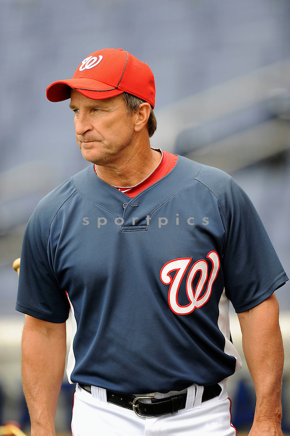 JIM RIGGLEMAN, of the Washington Nationals, in action during the Nationals game against the Los Angeles Dodgers .The Los Angeles Dodgers defeated the Washington Nationals 4-3 in 13 innings in Major League Baseball action in Washington, D.C. on April 24, 2010. ....