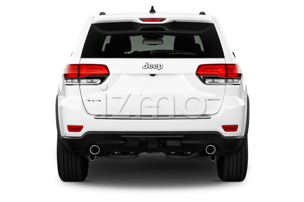 Straight rear view of a 2015 JEEP GRAND CHEROKEE Limited 5 Door SUV 4WD Rear View  stock images