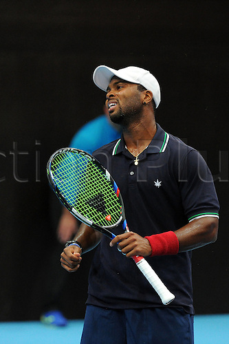 23.10.2016.  St. Jakobshalle, Basel, Switzerland. Basel Swiss Indoors Tennis Championships. Qualifying Day 2. Donald Young in action in the match between Donald Young of the United States of America and Aldin Setkic of Bosnia and Herzegovina