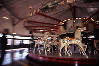 The Slater Memorial Park Looff Carousel, in Pawtucket, RI, still circles and moves up and down to the delight of children on the ride.