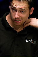 Professional Poker player Aaron Kanter, 27,  from Elk Grove, CA, competes at the final table of 9 players in the 36th annual World Series of Poker at Binion's Gambling Hall & Hotel on July 16, 2005 in Las Vegas, Nevada. Kanter finished 4th, and won $2 million. (Photo by Landon Nordeman)