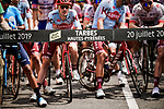 Ready to start Stage 14 of the 2019 Tour de France running 117.5km from Tarbes to Tourmalet Bareges, France. 20th July 2019.<br /> Picture: ASO/Pauline Ballet | Cyclefile<br /> All photos usage must carry mandatory copyright credit (© Cyclefile | ASO/Pauline Ballet)