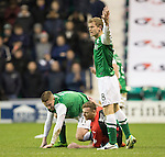 Hibs v St Johnstone....21.12.13    SPFL<br /> Paddy Cregg lunges in on Paul Cairney and was red carded<br /> Picture by Graeme Hart.<br /> Copyright Perthshire Picture Agency<br /> Tel: 01738 623350  Mobile: 07990 594431