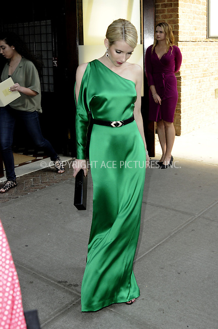 WWW.ACEPIXS.COM<br /> <br /> May 4 2015, New York City<br /> <br /> Actress Emma Roberts leaves a downtown hotel on the way to the Met Gala on May 4 2015 in New York City.<br /> <br /> <br /> Please byline: Curtis Means/ACE Pictures<br /> <br /> ACE Pictures, Inc.<br /> www.acepixs.com, Email: info@acepixs.com<br /> Tel: 646 769 0430