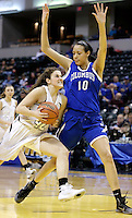 Penn guard Lindsy Kline (42) works against Columbus North forward Imani Guy (10) during the IHSAA Class 4A Girls Basketball State Championship Game on Saturday, Feb. 27, 2016, at Bankers Life Fieldhouse in Indianapolis.