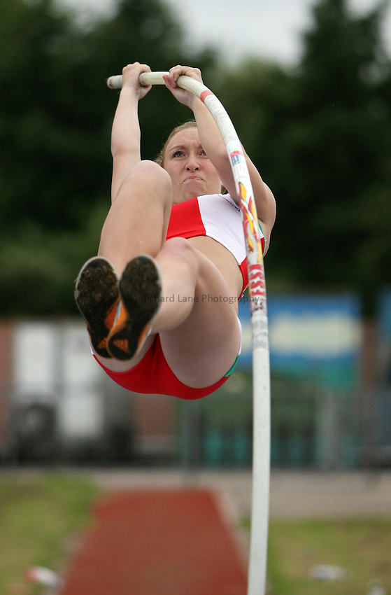 Photo: Rich Eaton...Schools International Athletic Board, Track & Field International Match, Newport. 21/07/2007. Christina Hughes of Wales competes in the girls pole vault.