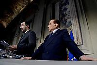 Roma, 12 Aprile 2018<br /> Silvio Berlusconi, Matteo Salvini.<br /> Secondo giro di Consultazioni per la formazione del Governo