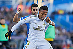 Angel Rodriguez of Getafe FC and Eder Militao of Real Madrid during La Liga match between Getafe CF and Real Madrid at Coliseum Alfonso Perez in Getafe, Spain. January 04, 2020. (ALTERPHOTOS/A. Perez Meca)